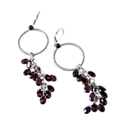 SOLD Red Garnet Hoop Earrings by Pilula Jula 'Vapor'