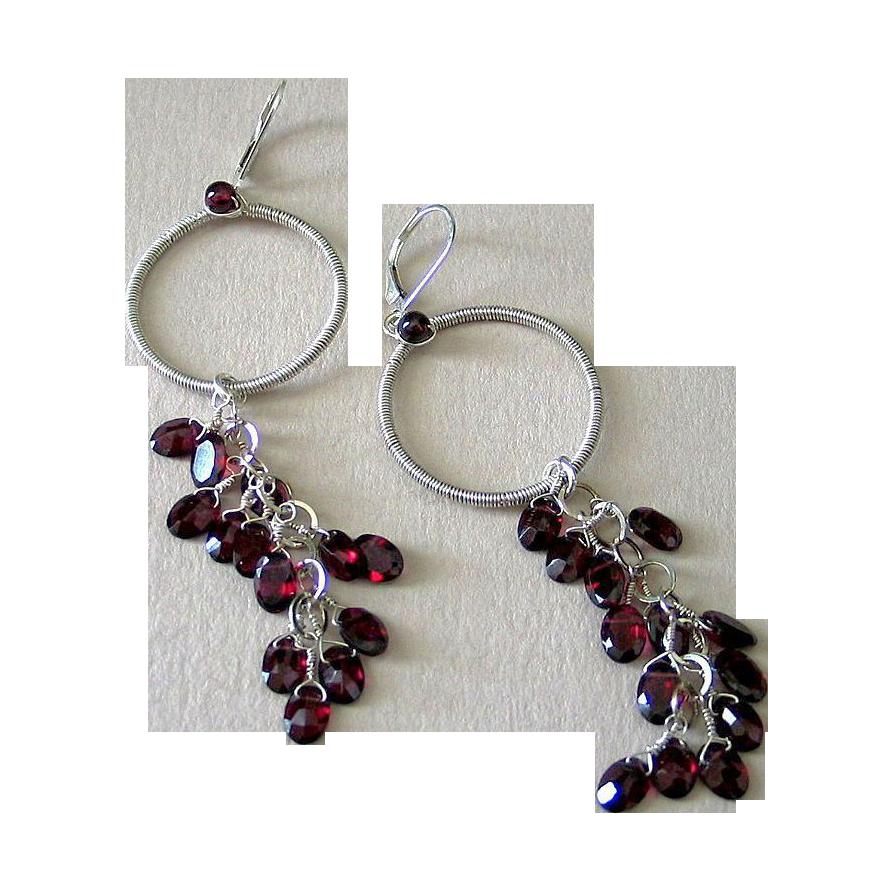 Red Garnet Hoop Earrings by Pilula Jula 'Vapor'