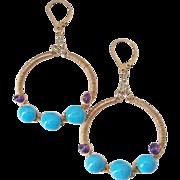 SOLD Sleeping Beauty Turquoise & Amethyst 14k Gold Fill Earrings by Pilula Jula 'Drifter'