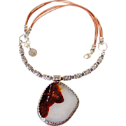Mexican Fire Agate Pendant Necklace by Pilula Jula 'Neko's Song'