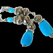 Sleeping Beauty Turquoise & Pyrite Earrings by Pilula Jula 'Sierra Leone'