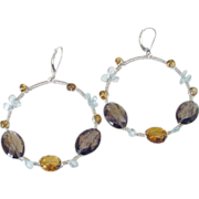Gem Aquamarine Quartz Wire Wrapped Hoop Earrings by Pilula Jula 'Falling in Style'
