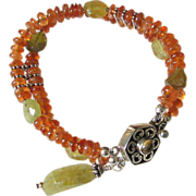 Double Strand Orange & Green Gemstone Bracelet  by Pilula Jula 'Word on the Street'