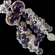 SOLD Boro Tourmaline Sapphire Cluster Earrings by Pilula Jula 'Heavy Lifting'