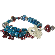 Apatite Garnet & Boro Cluster Bracelet by Pilula Jula 'Right to Fall'