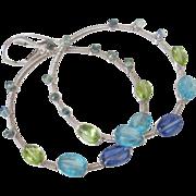 Kyanite Sapphire Peridot Apatite Hoop Earrings by Pilula Jula 'Legends & Legacies'