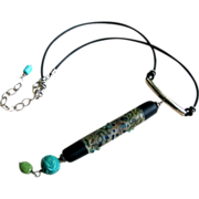 Lampwork & Turquoise Leather Necklace by Pilula Jula 'Land of Confusion'