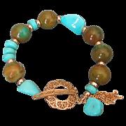 Sleeping Beauty & Hubei Mine Turquoise Tassel Bracelet by Pilula Jula 'Old Cypress Tree'