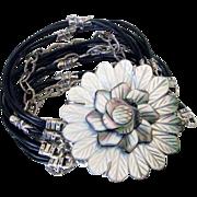 Leather & Chain Multistrand Bracelet by Pilula Jula 'Black Orchid'