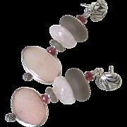 Morganite & Tourmaline Earrings by Pilula Jula 'Curls Like Weeds I'
