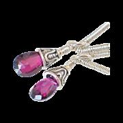 Gem Pink Rhodolite Garnet Geometric Earrings by Pilula Jula 'Into Limbo'