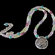Gemstone Floral Pendant Necklace by Pilula Jula 'Lip Lock'