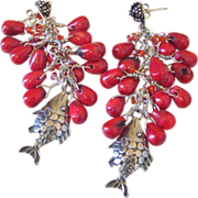 SOLD Coral Tassels Fish Charm Earrings by Pilula Jula 'Oceans Apart'