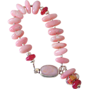 SOLD Pink Peruvian Opal & Boro Beads Bracelet by Pilula Jula 'Send to Celeste'