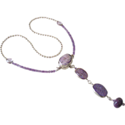Charoite  & Amethyst Necklace by Pilula Jula 'Surface of Pluto'