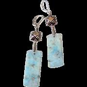 Blue Hemorophite Slice Earrings by Pilula Jula 'Quiet Game'