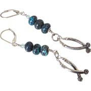 Spider Web Turquoise Dangle earrings by Pilula Jula 'Zebra Go Seek'