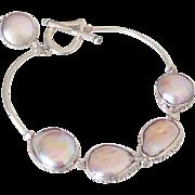 Large Cultured Freshwater Pearl Bangle Bracelet by Pilula Jula 'Silver Spoon II'