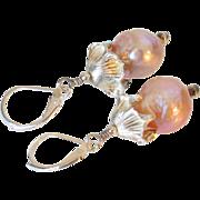 Cultured Akoya Pearl Earrings by Pilula Jula 'Fire Lilies'