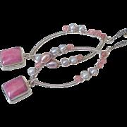 Rhodochrosite & Cultured Freshwater Pearl Earrings by Pilula Jula 'Ragtime'