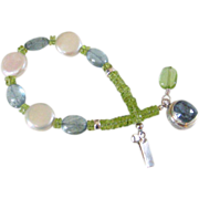 SOLD Cultured Freshwater Pearl & Gemstone Bracelet by Pilula Jula 'The Calm'