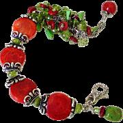 Coral Gaspeite & Peridot Cluster Cuff Bracelet by Pilula Jula 'Sweet Resistance I'