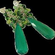Green Onyx. Emerald. Chrome Diopside. & Tsavorite Garnet Tasseled Earrings by Pilula Jula 'Pen