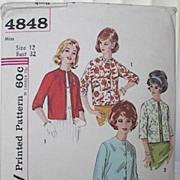 1960s Vintage Jacket Pattern