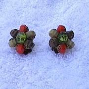 1950s Vintage Beaded Earrings - W. Germany