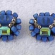 1950s Vintage Royal Blue Beaded Earrings