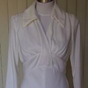 1970s Vintage Polyester White Formal / Wedding Dress