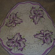 1950s/1960s Pretty Round Ladies Hanky Orchid Design