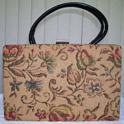 1960s Ivory Floral Tapestry Box Purse - Dover