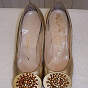 1960s Vintage Gold High Heeled Shoes 6 1/2 B