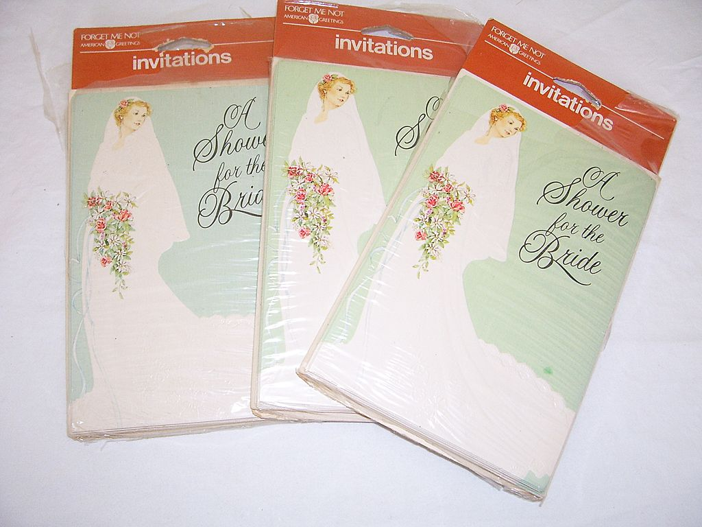 1970s vintage bridal shower invitations from rubylane sold for Classic bridal shower invitations