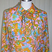 1960s Vintage Mod Colorful Blouse