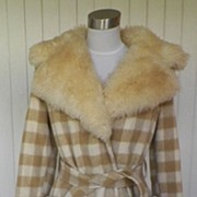 1970s Tan & Ivory Checked Coat w/Faux Fur