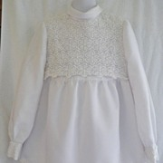 1960s Girl's White Dress w/Cotton Lace Overlay