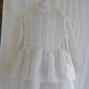 1960s Girl's Sheer White Christening Dress