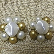 1950s Gold and White Beaded Clip On Earrings