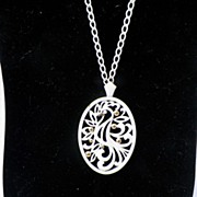 1960s White Enameled Bird Necklace - Monet