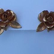 1950s / 1960s Goldtoned Rose Earrings - Coro