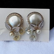 1950s Large Faux Pearl Medallion Clip On Earrings