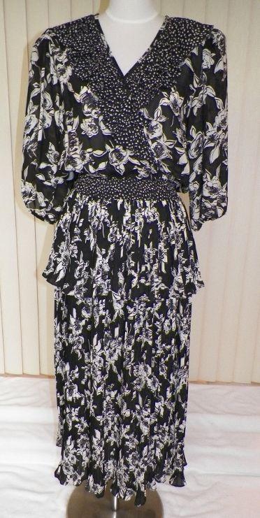 1980s Black & White Gypsy Style Dress - Lillie Rubin