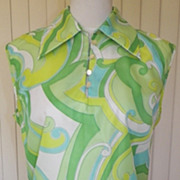 SOLD 1970s Tunic Blouse w/Green and Blue Swirled Design