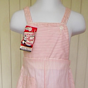 1960s Little Girl's / Infant's Overalls or Play Suit, Pink & White