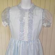 1970s Little Girl's Light Blue Party Dress - Size 6X