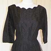 1950s All Lace Black Party Dress Full Skirt