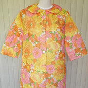 1960s Colorful Floral Quilted Nylon Robe Size Large