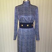 1970s Navy Blue & White Maxi Dress